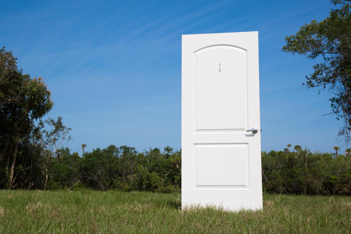 door in a field